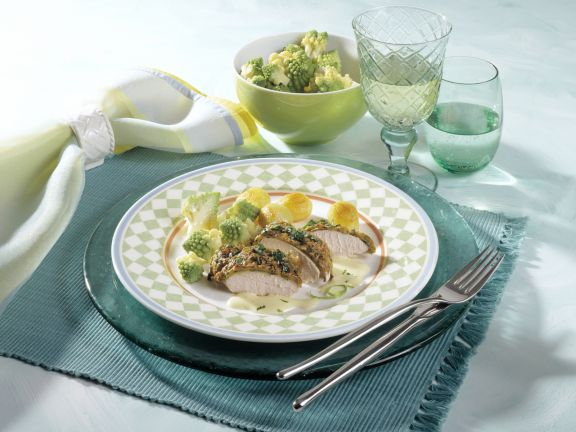 Chicken Breast Fillet with Herb Crust and Lime Hollandaise