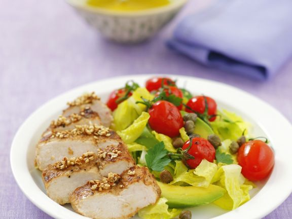 Chicken Breast with Cherry Tomato and Avocado Salad