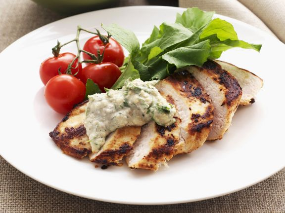 Chicken Breasts with Herbed Walnut Dip