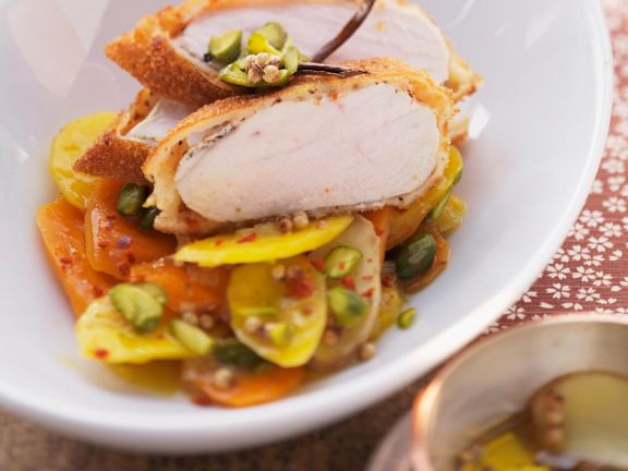 Chicken in a Corn Flake Crust with Carrots and Pistachios