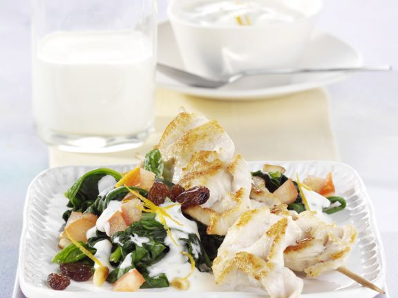 Chicken Kebabs with Warm Spinach Salad and Yogurt Sauce