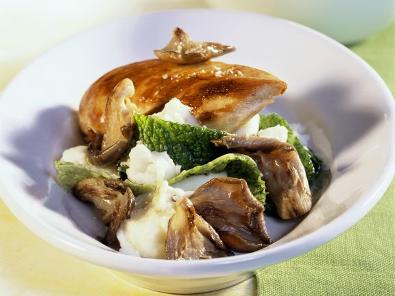 Chicken, Mushrooms, Savoy Cabbage and Mashed Potatoes