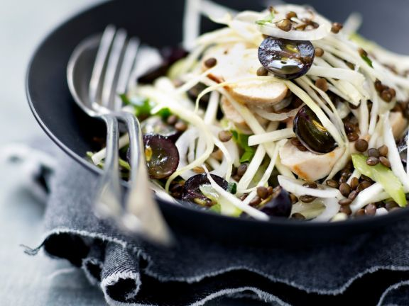 Chicken Salad with Cabbage, Grapes and Lentils