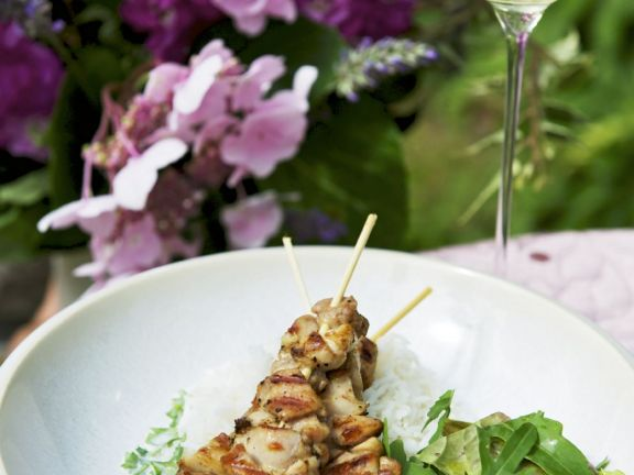 Chicken Skewers with Leaves