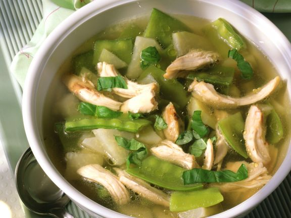 Chicken Soup with Snow Peas