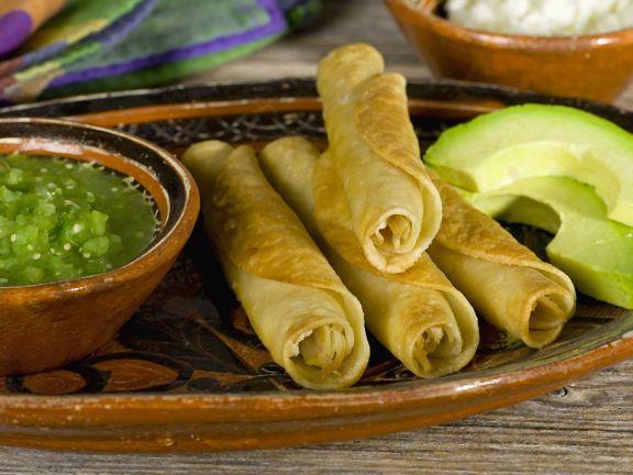 Chicken Taquitos, Avocado and Green Salsa