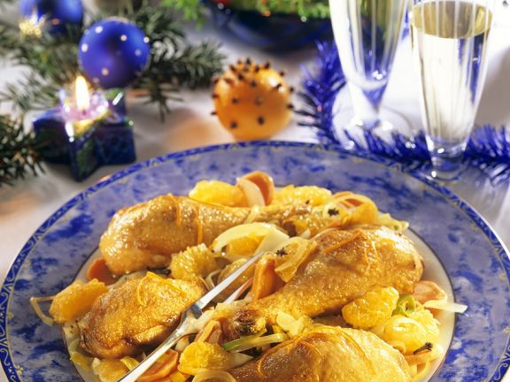 Chicken Thighs with Vegetables and Mandarin Oranges