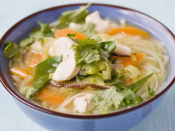 Chicken, Vegetable and Rice Noodle Soup