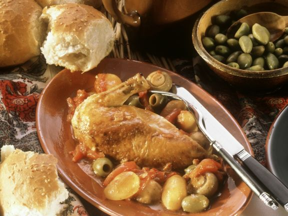 Chicken with Olives in Corsican Style
