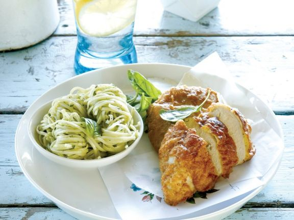 Chicken with Parmesan and Pesto Pasta