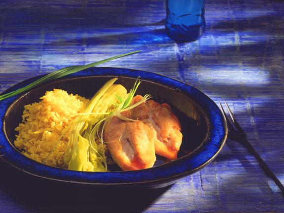 Chicken with Saffron Rice and Braised Celery