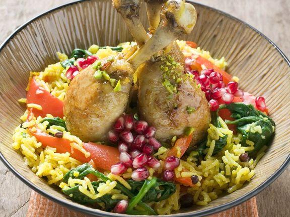 Chicken with Saffron Rice and Pomegranate