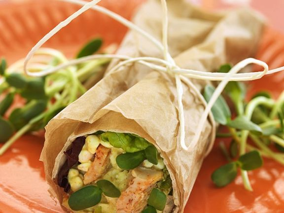Chicken Wraps with Cottage Cheese and Sprouts