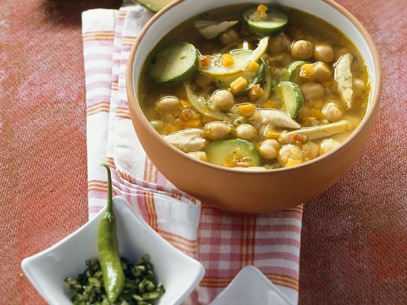Chickpea and Chicken Soup with Avocado