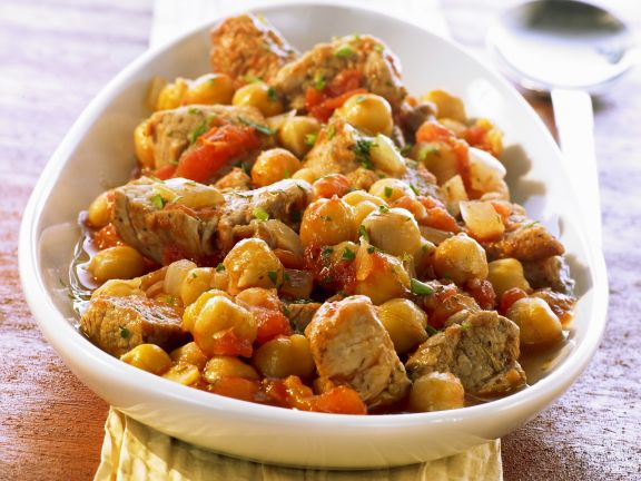 Chickpeas and Pork with Tomatoes