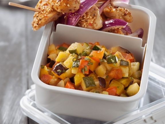 Chilled Country Veg with Chicken Skewers