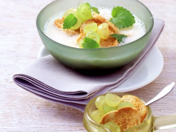 Chilled Garlic and Almond Soup with Grapes