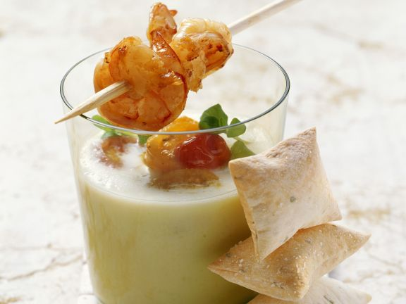 Chilled Melon Broth with Prawn Skewer