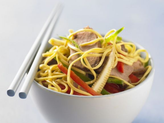 Chinese pork lo mein recipe eat smarter usa chinese pork lo mein forumfinder Images