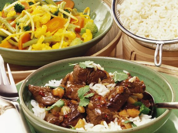 Chinese Style Curried Lamb and Stir-fried Vegetables