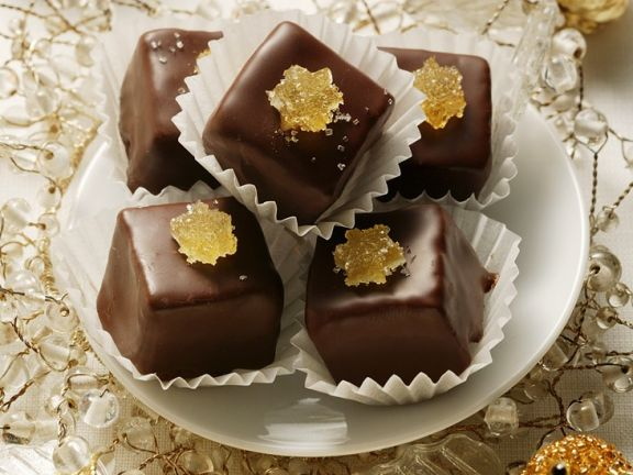 Chocolate-Coated Marzipan Candies with Candied Ginger