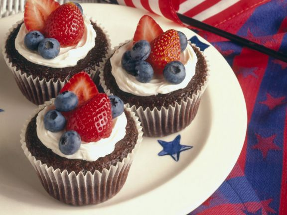 Chocolate Devil's Food Cupcake with Berries