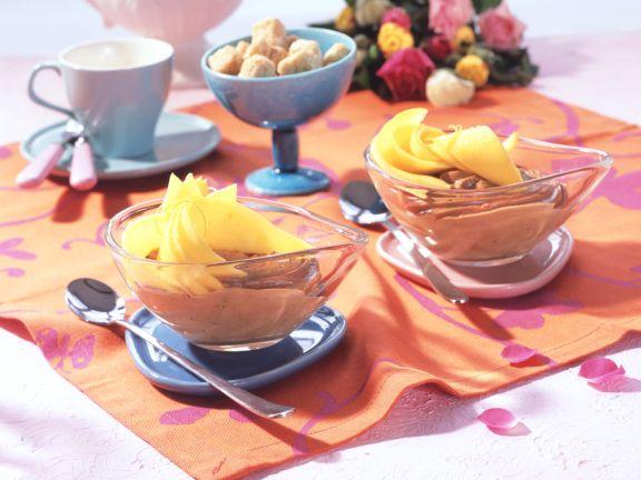 Chocolate-Hazelnut Mousse with Marinated Mango