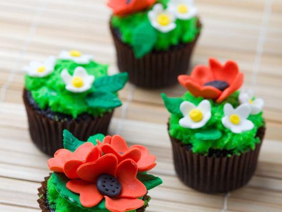 Chocolate Mint Flower Cupcakes
