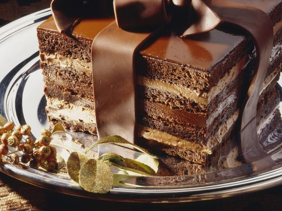 Chocolate Mocha Cream Cake with a Chocolate Bow