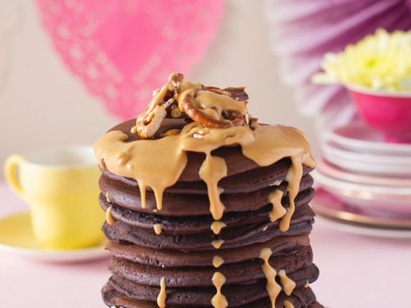 Chocolate Pancakes with Peanut Butter
