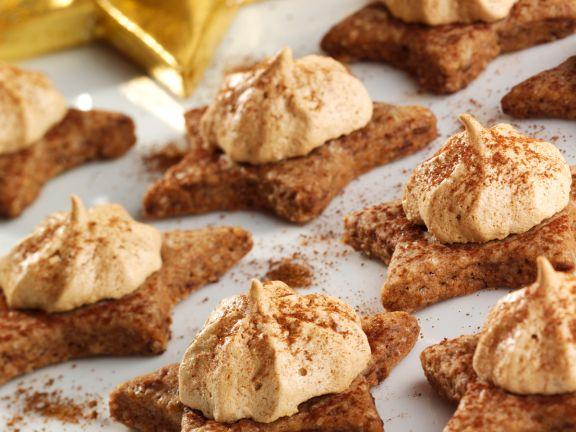 Chocolate Star Cookies with Espresso Meringue