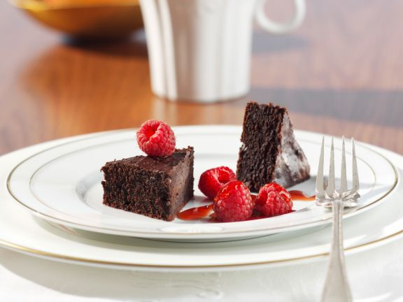Chocolate Triangles with Raspberry Syrup
