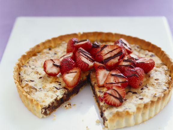 Chocolate Walnut Tart with Strawberries
