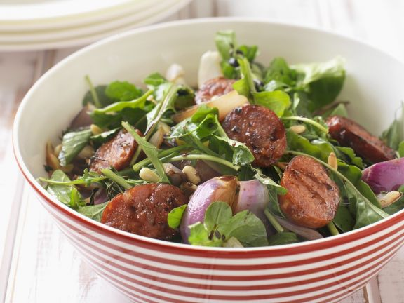 Chorizo and Green Leaf Salad