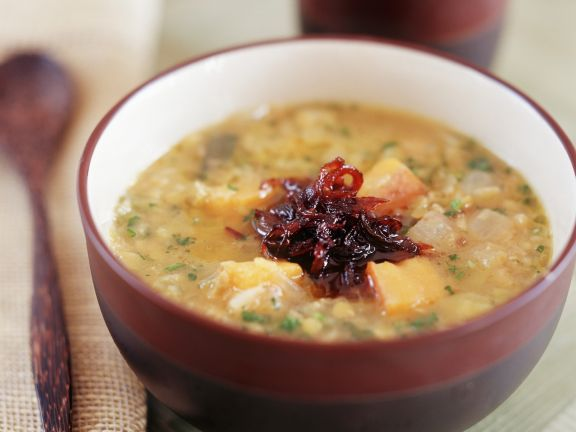 Chunky Potato Soup with Vinegared Onion