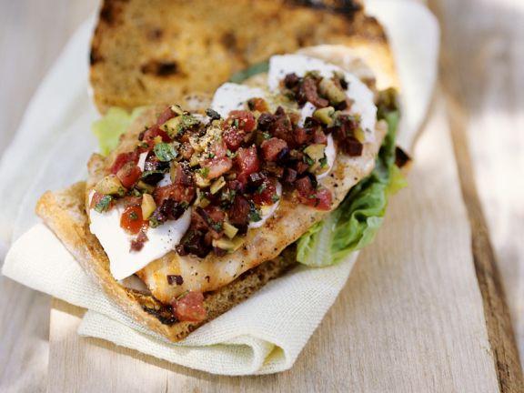 Ciabatta Cod Sandwiches with Salsa