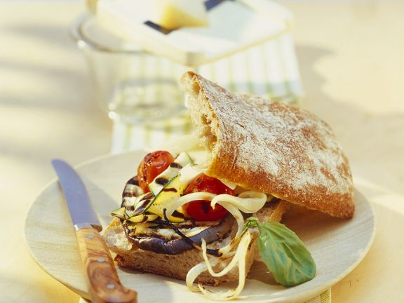 Ciabatta with Cheese and Grilled Vegetables