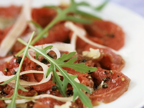 Raw Sliced Beef with Cheese and Rocket