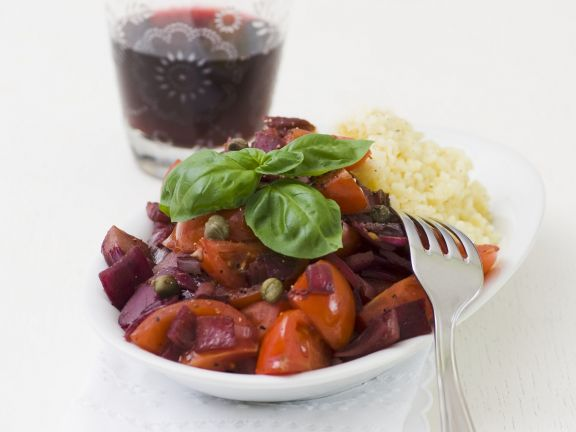 Cocktail Tomato Onion Ragout in Red Wine Sauce with Bulgur