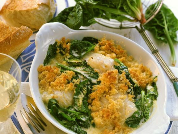 Cod and Spinach Gratin with Parmesan Breadcrumbs