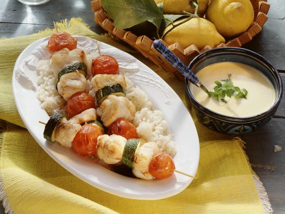 Cod Skewers with Rice and Pepper Sauce