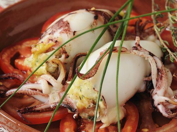 Cod-stuffed Squid