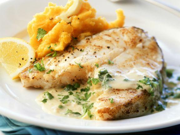 Cod with Pumpkin Mash and Cream Sauce