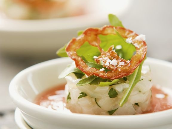 Cold Peach and Tomato Soup with Scallops