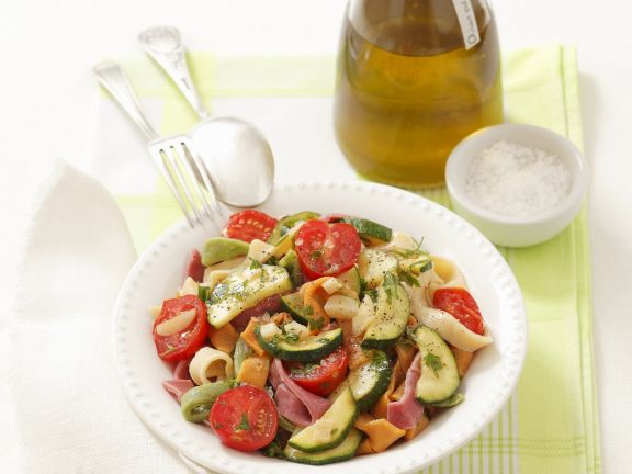 Colorful Noodles with Zucchini and Tomato Sauce