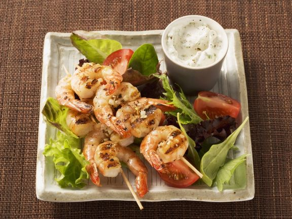 Colorful Salad with Shrimp Skewers