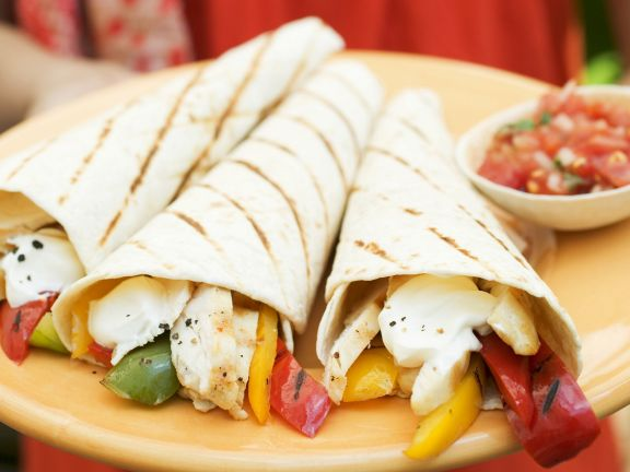 Colorful Tortilla Wraps and Salsa