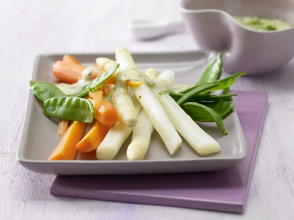 Colorful Vegetable Platter with Herb Hollandaise