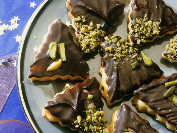Cookies with Chocolate Glaze and Pistachios