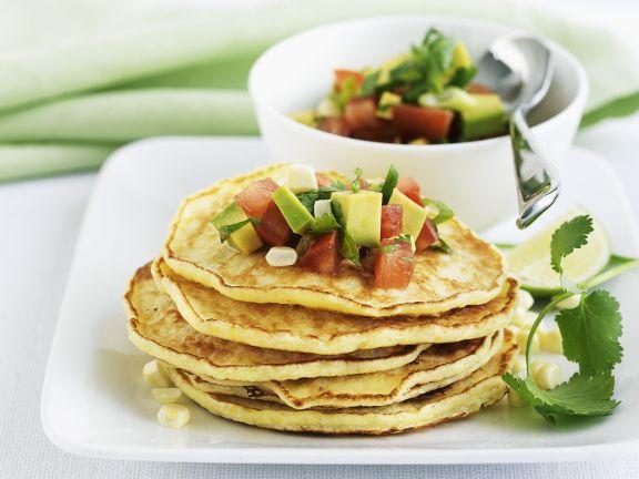 Corn Pancakes with Avocado Salsa